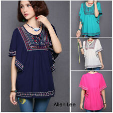 Women Ethnic Embroidered Loose Peasant Blouse Batwing Boho Hippie Top Free Sz
