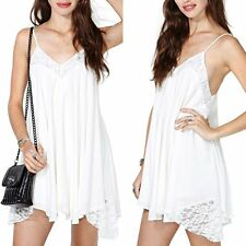 Sexy Womens Ladies Sleeveless Cami Swing Flared Strappy Long Vest Top Mini Dress