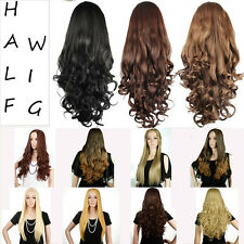 Fashion Lasies 3/4 Half Wig Full Long Straight Curly Hair Wigs Lace Weave Cap