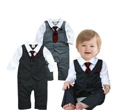 Baby Boy Wedding Formal Dressy Tuxedo Suit Striped Romper Outfit Set 3-24M