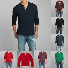 Abercrombie & Fitch by Hollister Men HENLEY shirt ALL Sizes NWT green RED blue