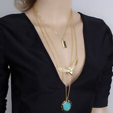 New! Fashion Womens Pierced Multilayer Crystal Pendant Chain Statement Necklace