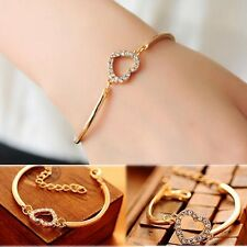 New Jewelry Fashion Cute Gold Crystal Rhinestone Love Heart Charm Chain Bracelet