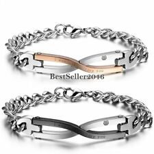 """"""" I was born to love you"""" Infinity Couples Mens Womens Stainless Steel Bracelcet"""