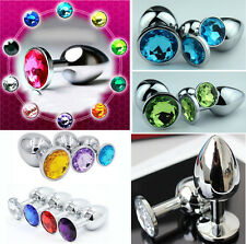 SML Butt Toy Plug Anal Insert Stainless Metal Steel Plated Jeweled Sexy Stopper