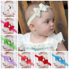 Girl Kid Rose Bow Lace Flower Elastic Headband  Newborn Hairband Baby Cute