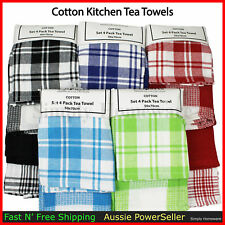 Cotton Kitchen Tea Towels Dish Cloths Towel Teatowels Teatowel New Linen - 4pcs