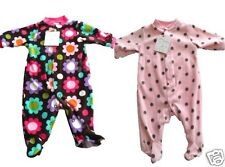 Girls Baby Fleece Sleepsuit All In One NB 0-3 3-6 6-9 Month Pink Spots or Floral