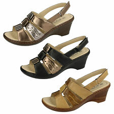 Eaze F3108 Black/Bronze, Beige/Tan Or Bronze/Pewter Synthetic Wedge Sandals
