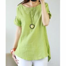 Fashion Women Summer Casual Cotton Linen Short Sleeve T Shirt Loose Blouse Tops