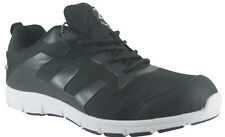 MENS BLACK GROUNDWORK LIGHT WEIGHT STEEL TOE SAFETY CASUAL WORK TRAINERS SHOES
