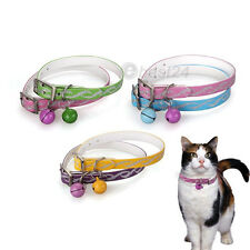 Adjustable Cat Kitty Kitten Dog Puppy Reflective Collar w/ Bell 12""
