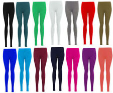 New Womens Ladies Plain Stretchy Elasticated Waist Full Length Legging Size 8-20
