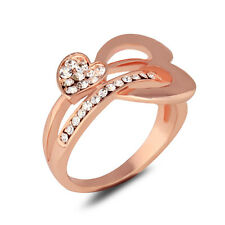New Women Engagement Wedding Ring CZ Rhinestone 18K Rose Gold Plated Heart Ring
