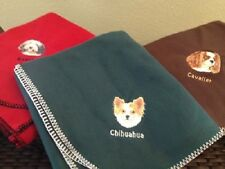 Embroidered Personalized Akc Dog Breed Fleece Throw Blankets (Breeds A - C)