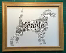 """Beagle dog word art FRAMED print 10 x 8"""" Choice of frames. Can be personalised."""
