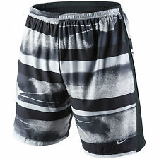 NEW Nike 2 in 1 Mens Running Shorts Tempo Print Small Black & Silver Dri Fit