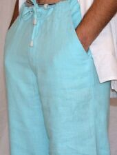 Men's Aqua Blue Draw String Destination Beach Weddings Linen Pants