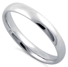 925 Sterling Silver Classic Plain Wedding Band Ring Size 3mm Small Large Sizes