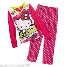 HELLO KITTY Girls Pajamas Size S 4 6 Polka Dot 2 Piece Sleep Set PJs Pink NEW