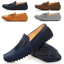 Mens slip on loafer tassel suede leather casual Moccasion driving shoes dress
