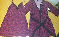 NWT Marilyn Monroe Intimates Lingerie 2 Pc. Robe & Gown Set Chemise Pink/Black