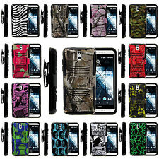 For HTC Desire 610 Holster Clip Case Tough Armor Hybrid Gel Hard Stand Cover