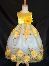 Yellow Flower Girl Bridesmaids Summer Elegant Toddler Girl Dress 2 4 6 8 10 12