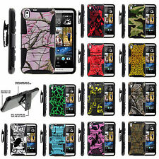 For HTC Desire 816 Holster Clip Case Tough Armor Hybrid Gel Hard Stand Cover