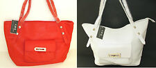 NEW-KMQ COLLECTION WHITE+TOMATO RED LEATHERETTE HAND,SHOULDER BAG,PURSE,TOTE