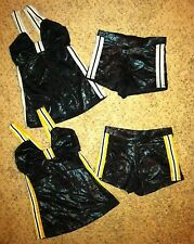 2 LOT Marcea Black Metallic Gold Silver Dance Jazz Top Booty Shorts Outfit Ad M