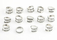 Personalize Letter Family Engraved Friendship Infinity Ring Jewelry Silver Tone