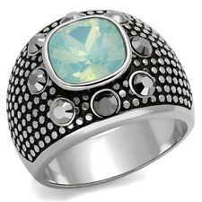 Fireopal Crystal Stone Silver Stainless Steel Mens Ring