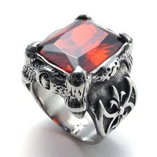 316L Stainless Steel Titanium Antique Dragon Claw Ruby Biker Punk Ring G074028