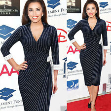 Sexy Women Striped Business Work Formal Bodycon Slim Party Evening Pencil Dress