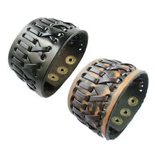 Wide Leather Dual Strap Stitched Bracelet Cuff Wristband for Men Black Coffee