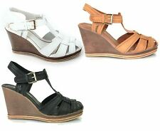 Womens Wedge Heel Buckle Up Ankle Strap Sandal Padded Insole Shoes Salt & Pepper