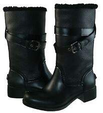 Coach Womens Zena Pull On Strap Buckle Shearling Winter Snow Heels Boots