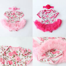 New Sweet Girl Rose Flower Newborn Baby Girls Romper Dress Jumpsuit Clothes Kit