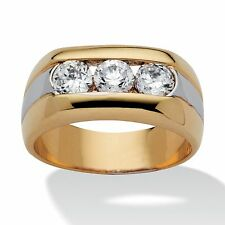 Men's 1.50 TCW Cubic Zirconia 14k Yellow Gold-Plated Two-Tone Triple-Stone Ring
