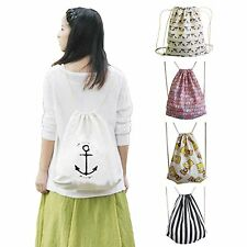 Girls Boys Canvas Sport Backpack Drawstring Bag Book Shoes Swimming Gym PE Pouch