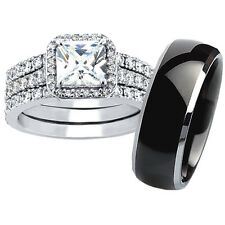Hers .925 Sterling Silver His Black Tungsten Wedding Ring Engagment Band Set