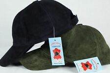 NAVY or GREEN Lambskin Suede Leather Baseball Cap Hat Biker Trucker Sports Visor