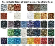 Czech 11/0 Glass Tube Bugle Seed Beads 20 gram loose or 12-strand hank