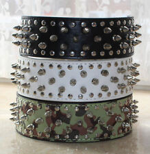 NEW Unisex Leather Spiked Studded Dog Collar Spikes Studs Pitbull Terrier M L XL