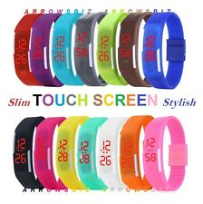 Digital LED Strip Touch Screen Wrist Watch Slim Ring for Boys Girls Men Women