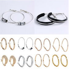 2Pcs Lady Big Clear Silver/Gold Circle Round Hoop Charm Dangle Earring Stud Gift