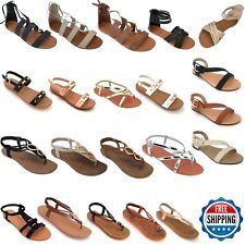 New Women Gladiator Sandals Shoes Thong Flip Flops Flat T Strap Size Strappy Toe