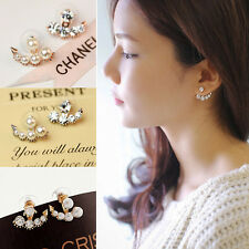 1Pair  Fashion Elegant Pearl Crystal Rhinestone Ear Ear Stud Earrings Jewelry