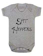 "Baby Grow ""Spit Happens"" Funny, Baby Play suit / Bodysuit / Sleep Suit"